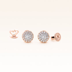 14K Pink Gold Round Diamonds Cluster Earrings 0.30 carat