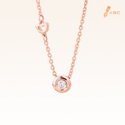 14K Pink Gold Minimal Stud Pendant with Diamond 0.05 carat