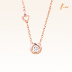 14K Pink Gold Minimal Stud Pendant with Diamond 0.08 carat