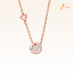 14K Pink Gold Minimal Stud Pendant with Diamond 0.12 carat