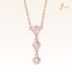 14K Pink Gold Stations drop Pendant with Trio Diamonds