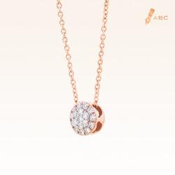 14K Pink Gold Round Diamond Cluster Pendant 0.10 carat