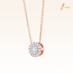 14K Pink Gold Round Diamond Cluster Pendant 0.15 carat