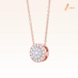 14K Pink Gold Round Diamond Cluster Pendant 0.20 carat