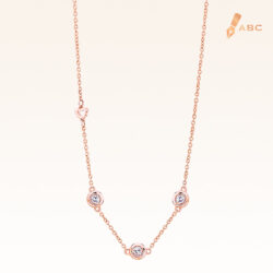 14K Pink Gold Stations Pendant with Trio Diamonds
