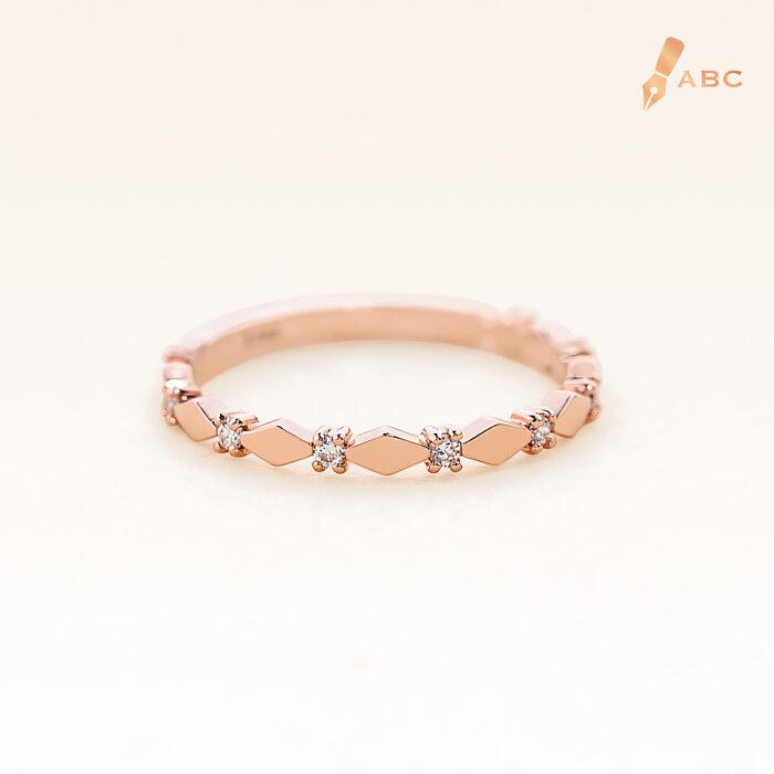 14K Pink Gold Minimal Eternity Diamonds Band Ring