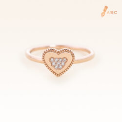 14K Pink Gold Love Bear Diamond Ring