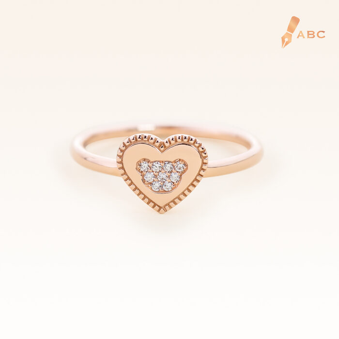 14K Pink Gold Love Bear Diamond Ring