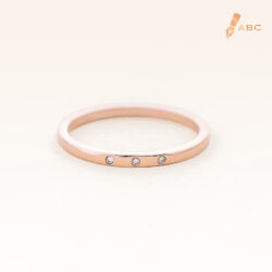 14K Pink Gold Petite 3 Stones Band Ring