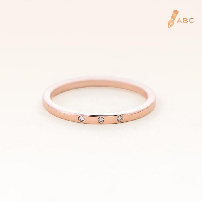 14K Pink Gold Petite 3 Stones Band Ring