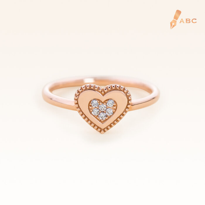 14K Pink Gold Double Hearts Diamond Ring