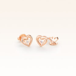 14K Pink Gold Heart & Bear Earrings with Diamonds
