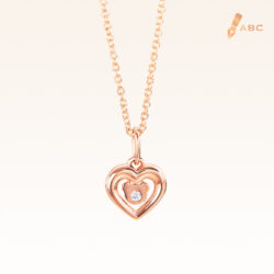 14K Pink Gold Heart & Bear Diamond Pendant