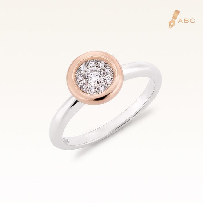 Silver & 14K Gold Cluster Diamond Ring