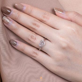 Silver June Birthstone Light Amethyst Color CZ Beawelry Ring