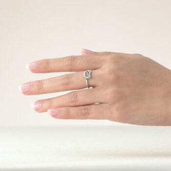 Silver July Birthstone Ruby Color CZ Beawelry Ring