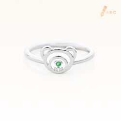 Silver May Birthstone Emerald Color CZ Beawelry Ring