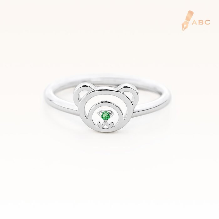 Silver August Birthstone Peridot Color CZ Beawelry Ring