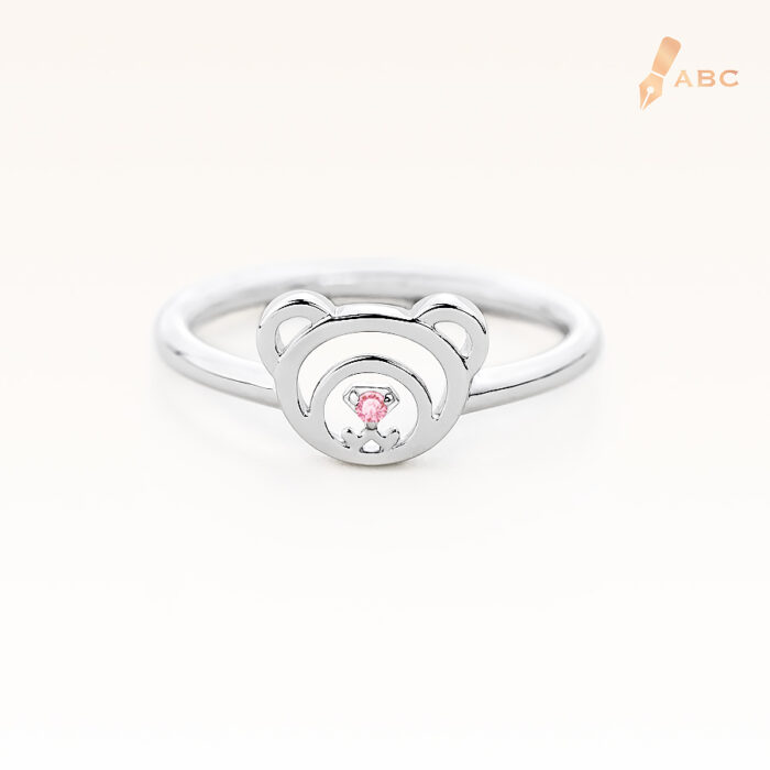 Silver October Birthstone Pink Tourmaline Color CZ Beawelry Ring