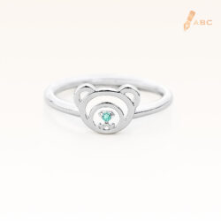 Silver March Birthstone Aquamarine Color CZ Beawelry Ring