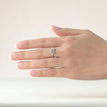 Silver March Birthstone Aquamarine Color CZ Beawelry Ring