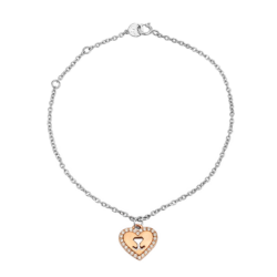 18K two tone Gold Heart Diamond Bracelet