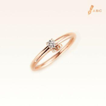 18K Pink Gold Diamond 0.10 ct. Ring & Dangling Beawelry Bear