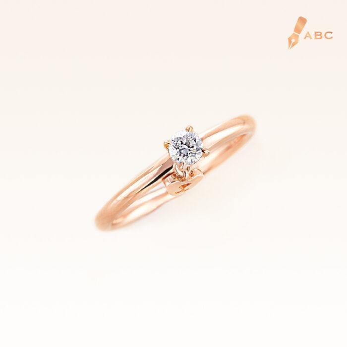 18K Pink Gold Diamond 0.15 ct. Ring & Dangling Beawelry Bear