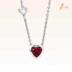 Classic Red Heart Shape CZ Silver Pendant