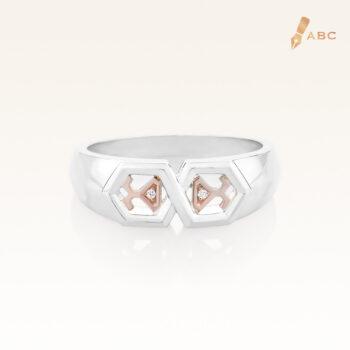 Silver & 14K Gold Beawelry Diamond Ring