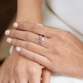 Silver Classic Beawelry Heart Red & White CZ Ring